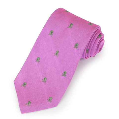 Skull & Crossbones Green On Pink Three-Fold Silk Reppe Tie