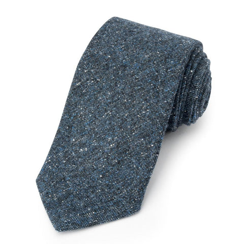 Donegal Wool Three-Fold Tie In Ocean Blue