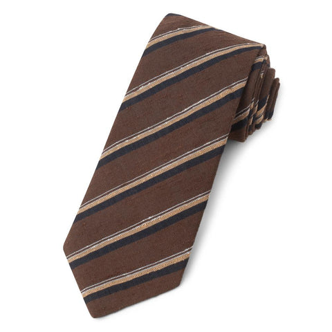 Brown With Beige And Navy Stripe Shantung Three-Fold Silk Tie Neckwear Benson And Clegg