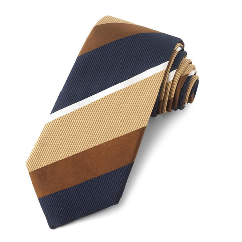 Gold With Brown And Navy Stripe Three-Fold Silk Reppe Tie Neckwear Benson And Clegg