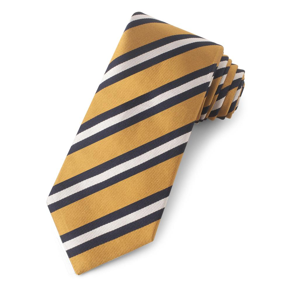 Gold With Navy And White Stripe Three-Fold Silk Reppe Tie