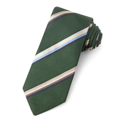 Green With Multi Colour Stripe Three-Fold Silk Reppe Tie Neckwear Benson And Clegg