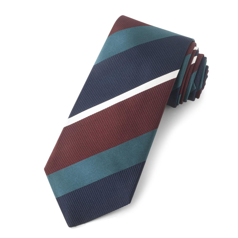 Navy And Red With Green Stripe Three-Fold Silk Reppe Tie