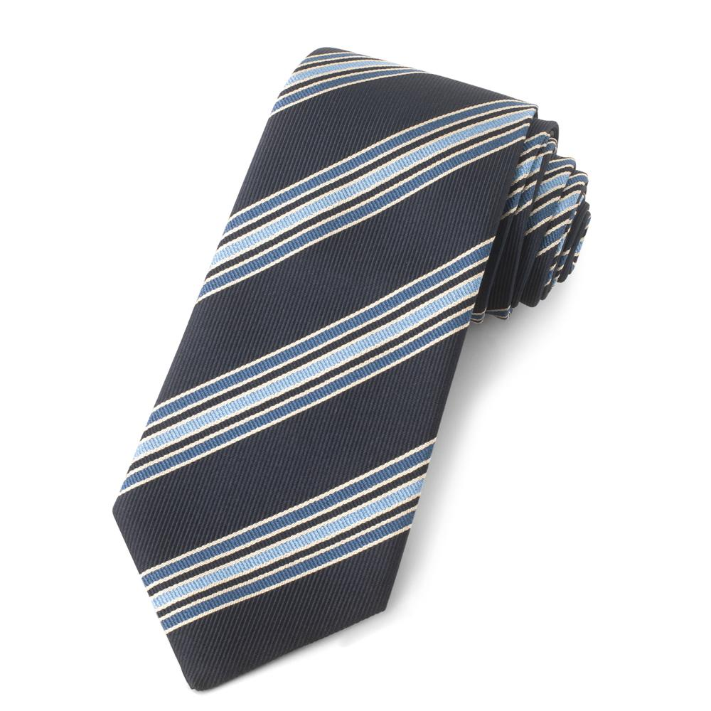 Navy With Blue Stripes Three-Fold Silk Reppe Tie
