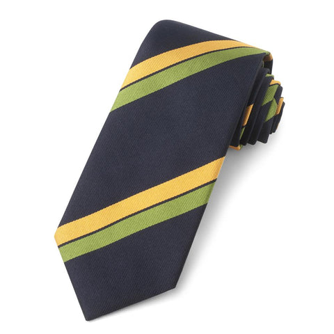 Navy With Gold And Green Stripe Three-Fold Silk Reppe Tie Neckwear Benson And Clegg