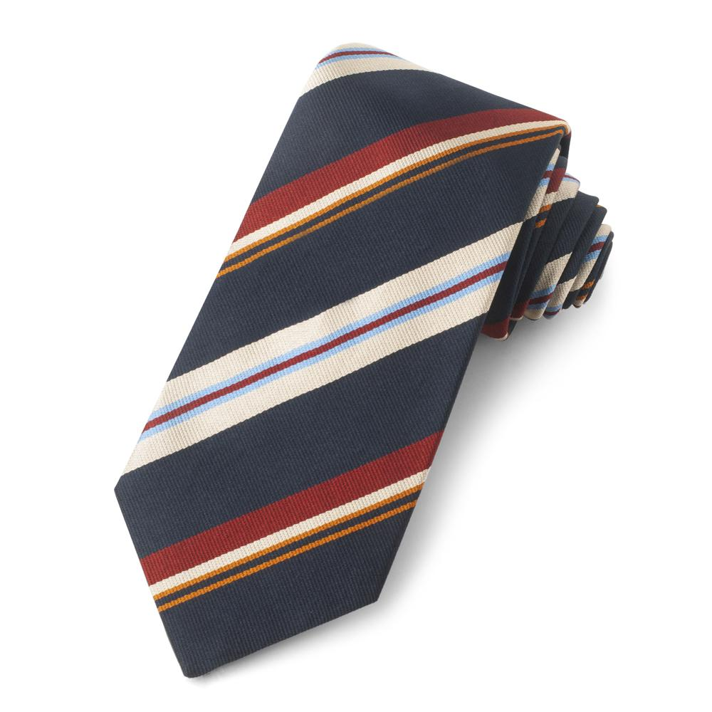 Navy With Multi Colour Stripe Three-Fold Silk Reppe Tie Neckwear Benson And Clegg