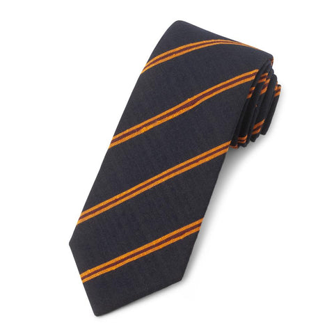 Navy With Orange And Red Stripe Shantung Three-Fold Silk Tie Neckwear Benson And Clegg
