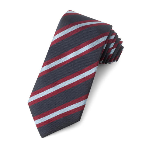 Navy With Red And Sky Stripe Three-Fold Silk Reppe Tie