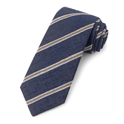 Navy With Sky And Brown Stripe Shantung Three-Fold Silk Tie