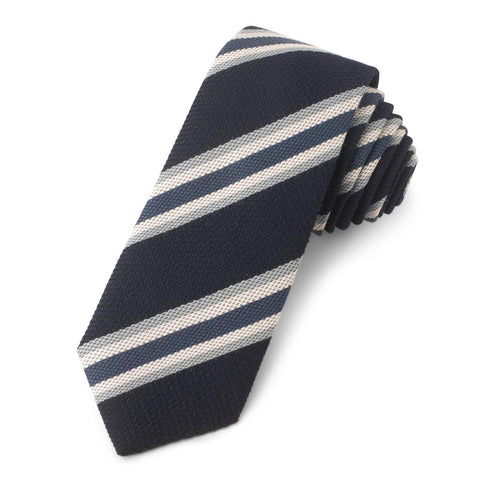 Navy With White And Blue Stripe Grenadine Three-Fold Silk Tie