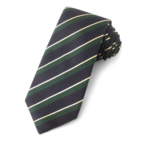 Navy With White and Green Stripe Three-Fold Silk Reppe Tie