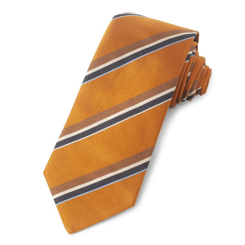 Orange With Brown And Navy Stripe Three-Fold Silk Reppe Tie Neckwear Benson And Clegg