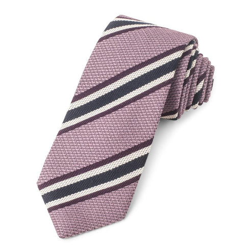 Pink With White And Navy Stripe Grenadine Three-Fold Silk Tie