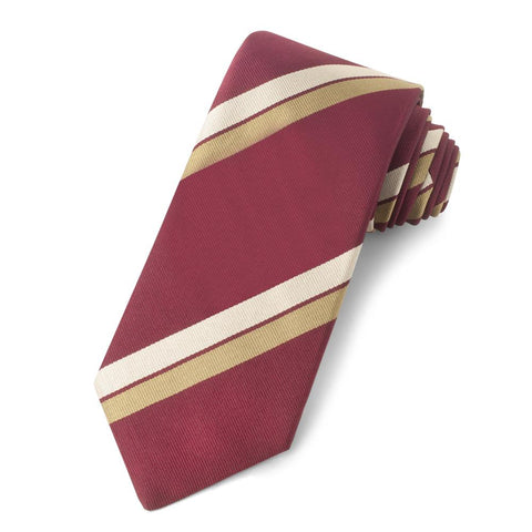 Red With Beige And Gold Stripe Three-Fold Silk Reppe Tie