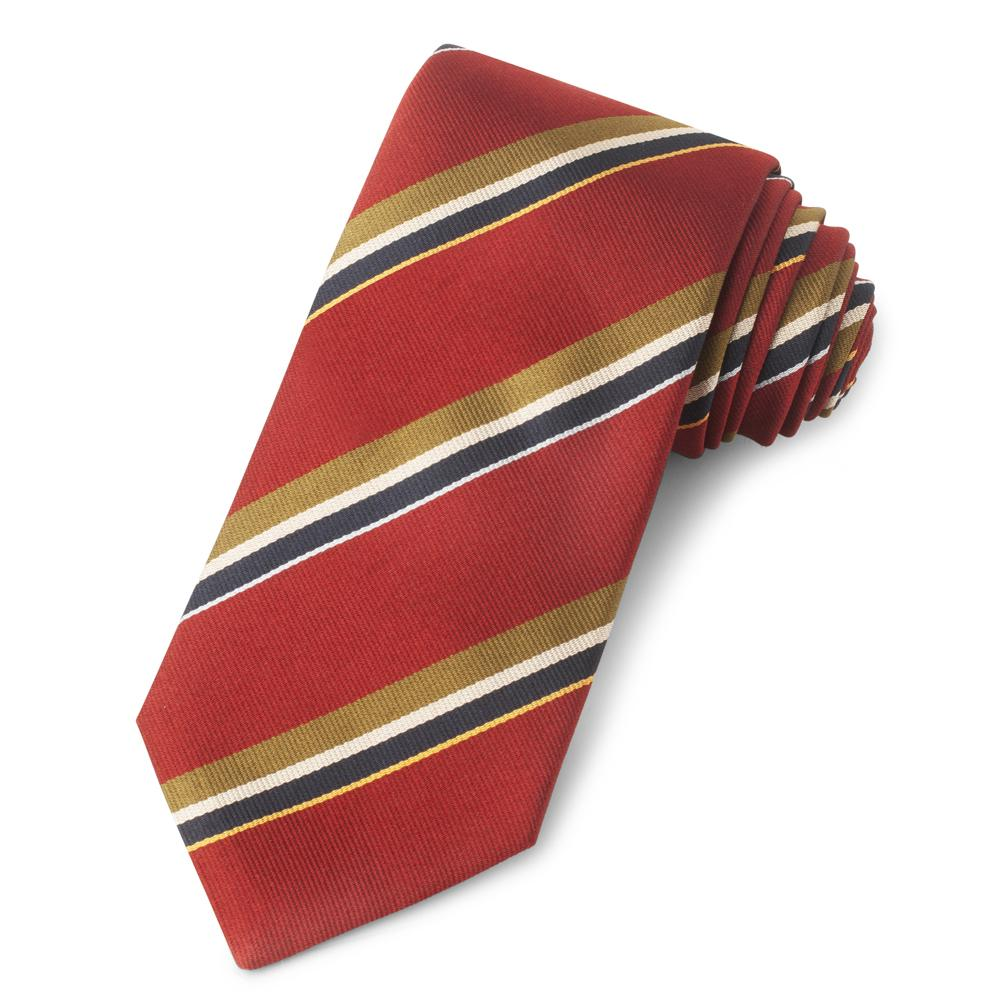Red With Gold And Navy Stripe Three-Fold Silk Reppe Tie