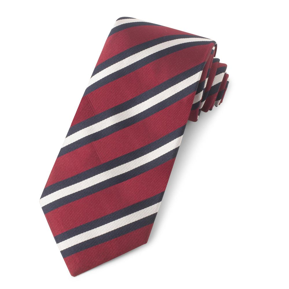 Red With Navy And White Stripe Three-Fold Silk Reppe Tie Neckwear Benson And Clegg