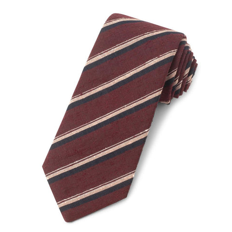 Red With Pink And Navy Stripe Shantung Three-Fold Silk Tie