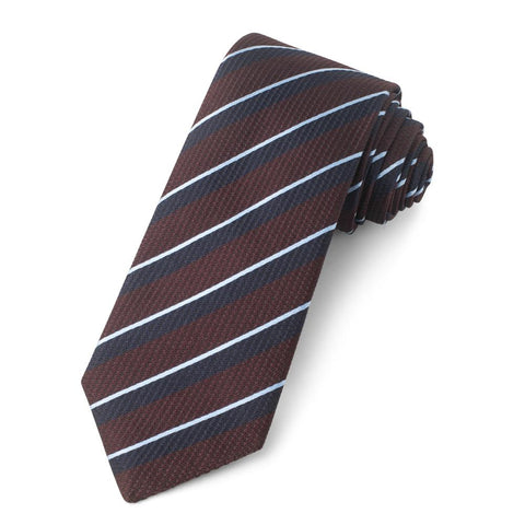 Wine With Sky And Navy Stripe Three-Fold Silk Reppe Tie