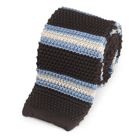 Knitted Silk Tie In Brown With Blue And White Stripe