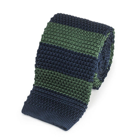Knitted Silk Tie In Navy With Green Stripe Neckwear Benson And Clegg