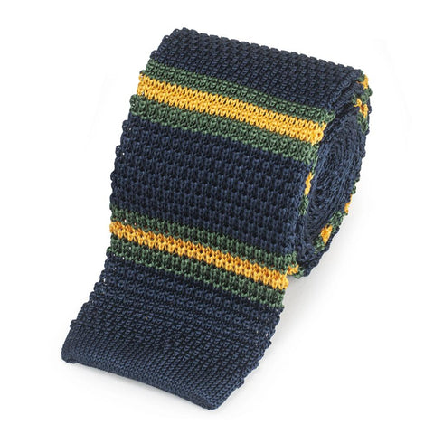 Knitted Silk Tie In Navy With Green And Yellow Stripe