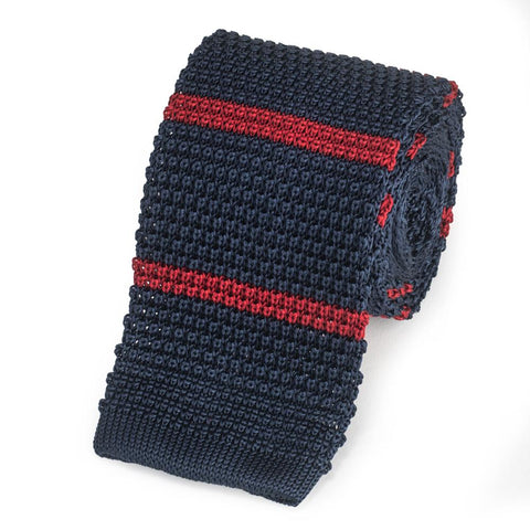 Knitted Silk Tie In Navy With Red Stripe