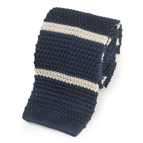 Knitted Silk Tie In Navy With White Stripe Neckwear Benson And Clegg