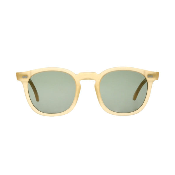 Twill Matte Champagne Acetate Sunglasses with Bottle Green Lenses Accessories Not specified