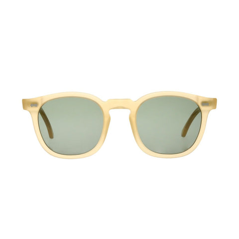 Twill Matte Champagne Acetate Sunglasses with Bottle Green Lenses