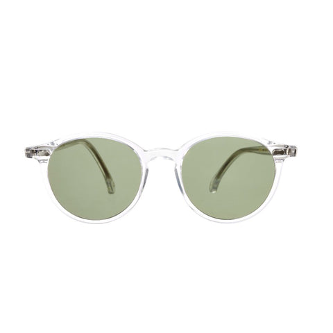 Cran Transparent Acetate Sunglasses with Bottle Green Lenses