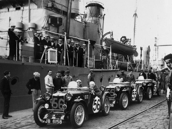 MGs Lined up Beside a Ship 1935