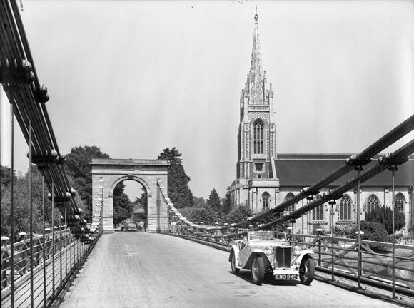 MG TC on Marlow Bridge 1949