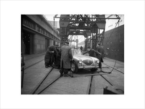 Austin Healey 100 Boarding the Queen Mary 1953