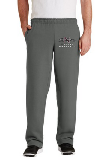 Naugatuck Travel Baseball Adult Open Bottom Sweatpants with Embroidered logo