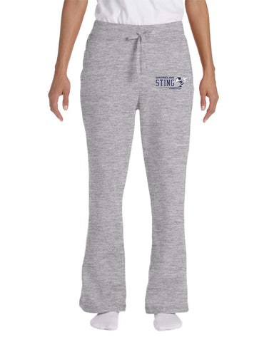 Shoreline Sting Ladies Open Bottom Sweatpants with Embroidered logo