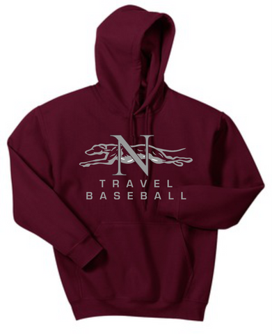 Naugatuck Travel Baseball Maroon Unisex Adult Hooded Sweatshirt