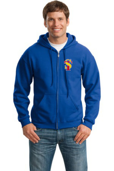 Seymour Tradition Royal Adult Unisex Full Zip Hooded Sweatshirt