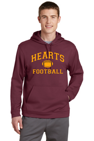Hearts Football Wicking Unisex Hooded Sweatshirt Football Logo