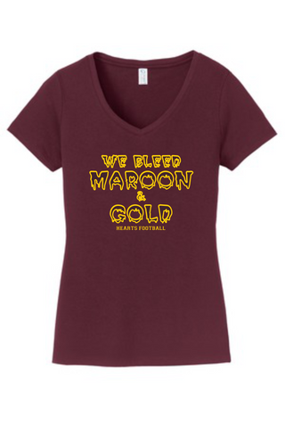 Hearts Football Ladies Maroon V-Neck Cotton Blended T-shirt