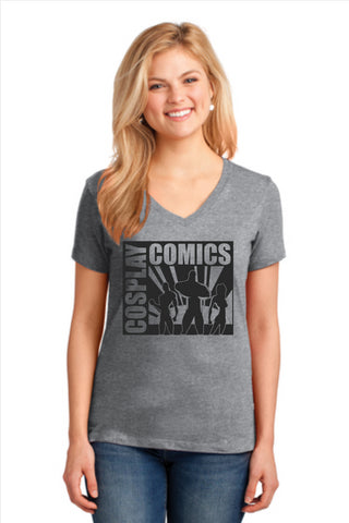 Cosplay Comics Ladies V-neck Cotton T-shirt