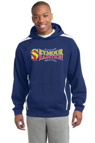 Seymour Tradition Royal Unisex Adult Sleeve Stripe Hooded Sweatshirt