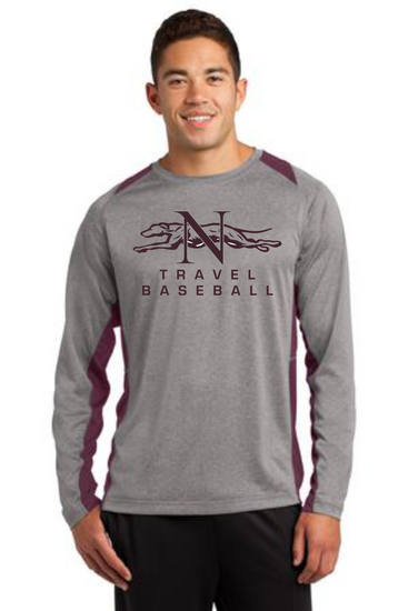 Naugatuck Travel Baseball Adult Long Sleeve Heather Colorblock Contender™ Tee