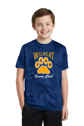 Wildcat Swim Club Camo wicking t-shirt