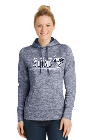 Shoreline Sting Ladies PosiCharge® Electric Heather Fleece Hooded Pullover