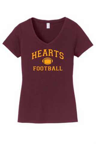 Hearts Football Ladies Maroon V-Neck Cotton Blended T-shirt logo 2