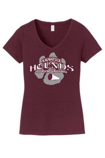 Naugatuck Hounds Cheer Ladies Maroon V-Neck Cotton Blended T-shirt