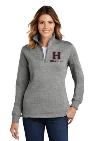Hillside Ladies 1/4 Zip Cotton blended Pullover