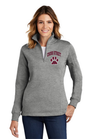 Cross Street Ladies 1/4 Zip Cotton blended Pullover