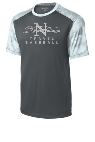 Naugatuck Travel Baseball Grey Men's Side Camo wicking t-shirt