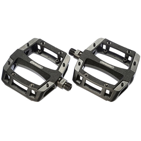 Jet Black Flat Out Alloy MTB Pedal Painted Black Ball Bearings Cromo Axle